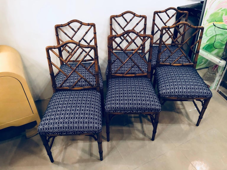 Vintage Set of Six Faux Bamboo Chinese Chippendale Dining Chairs by Century In Excellent Condition For Sale In West Palm Beach, FL