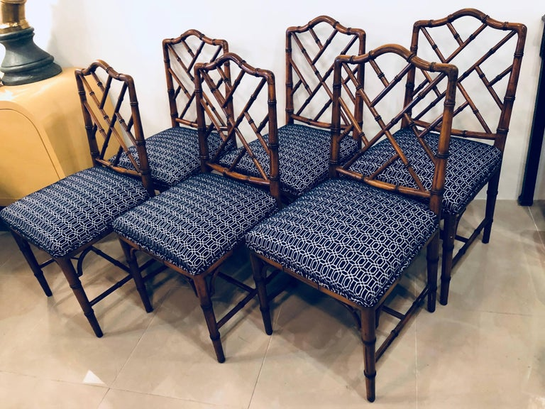 Vintage Set of Six Faux Bamboo Chinese Chippendale Dining Chairs by Century For Sale 2