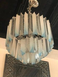 Vintage Light Blue Aqua Lucite Two Tier Chrome Chandelier