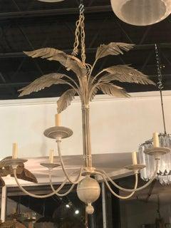 Vintage Palm Tree Frond Leaf Leaves Metal Tole Chandelier