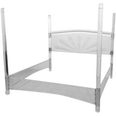 Lucite and Chrome Four Post Canopy Bed King Size Vintage Headboard Midcentury