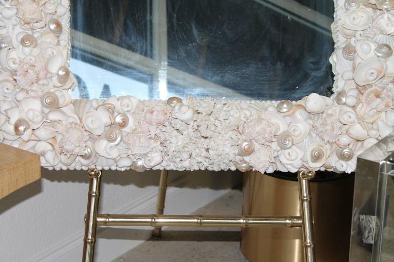 Seashell Encrusted Vintage Wall Mirror Palm Beach Vintage