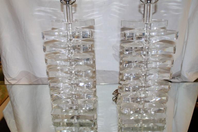 Pair Of Vintage Stacked Lucite Table Lamps In The Style Of Karl Springer
