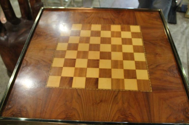 Merveilleux Brass Game Table Burl Wood Chess Backgammon Checkers Hollywood Regency