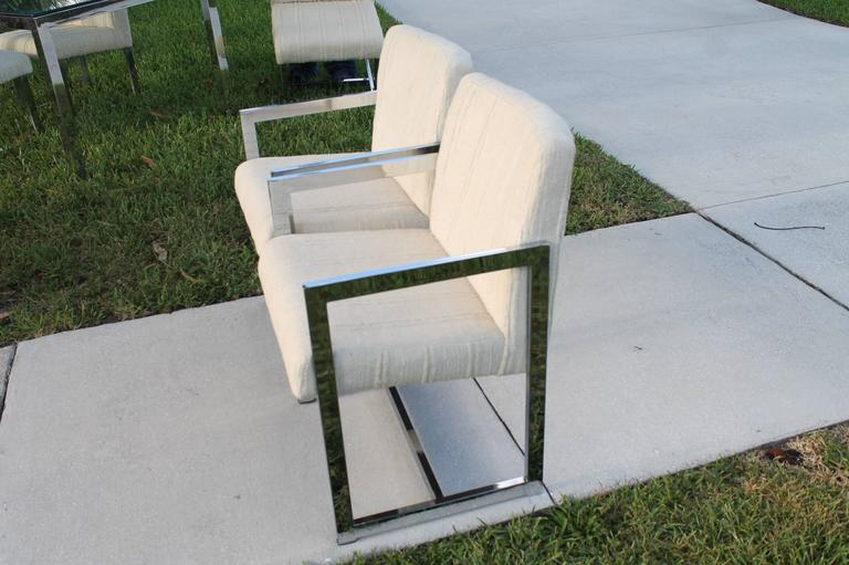 Mid-Century Modern Midcentury Chrome Table and Six Chairs Dining Set by Milo Baughman for DIA For Sale