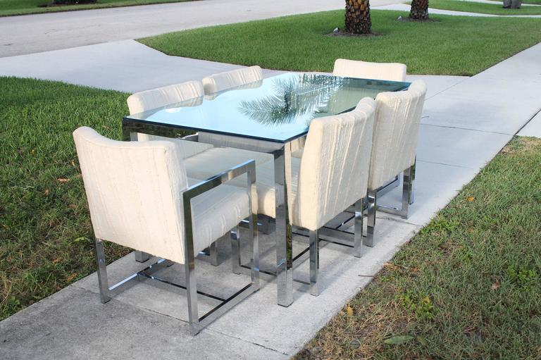 Midcentury Chrome Table and Six Chairs Dining Set by Milo Baughman for DIA In Excellent Condition For Sale In West Palm Beach, FL