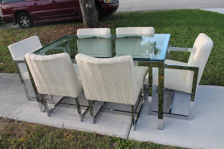 20th Century Midcentury Chrome Table and Six Chairs Dining Set by Milo Baughman for DIA For Sale