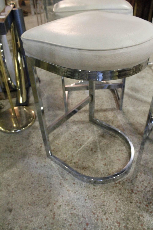 Set Of 3 Chrome Cantilever Bar Stools Milo Baughman Mid
