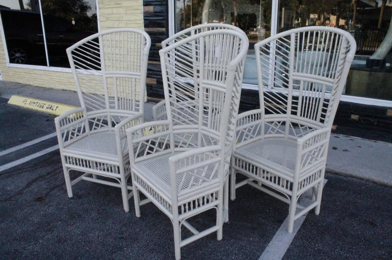 Great Hollywood Regency Set Of Four Brighton Pavilion High Back Rattan Chinese  Chippendale Club Chairs For Sale