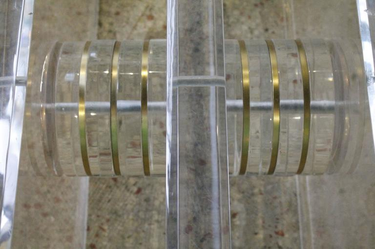 American Vintage Lucite and Brass Bolt Coffee or Cocktail Table For Sale