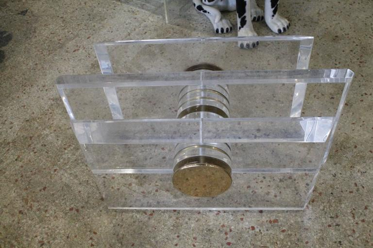 20th Century Vintage Lucite and Brass Bolt Coffee or Cocktail Table For Sale