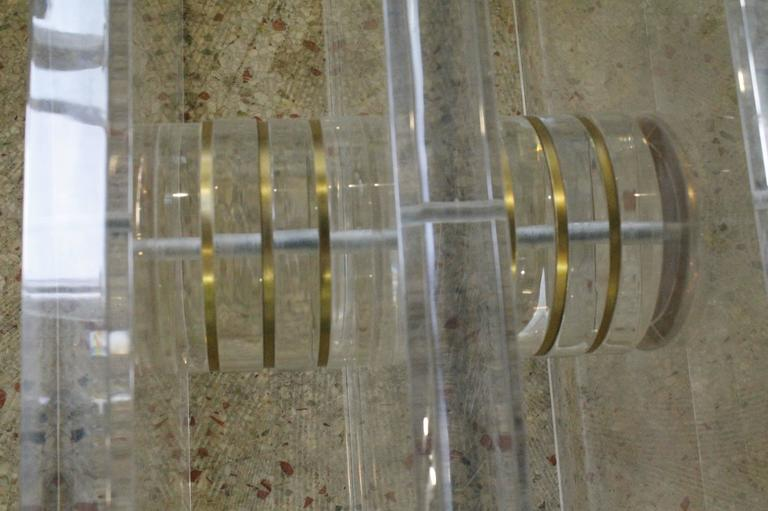Vintage Lucite and Brass Bolt Coffee or Cocktail Table For Sale 2