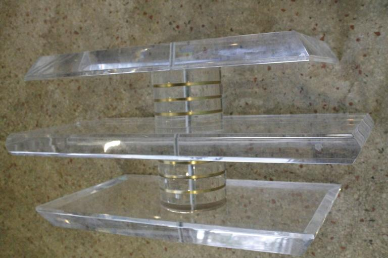 Vintage Lucite and Brass Bolt Coffee or Cocktail Table For Sale 3