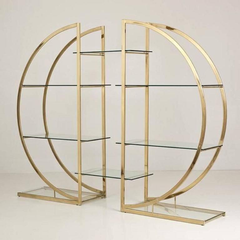 milo baughman art deco brass pair of etageres circular d hollywood regency shelf at 1stdibs. Black Bedroom Furniture Sets. Home Design Ideas