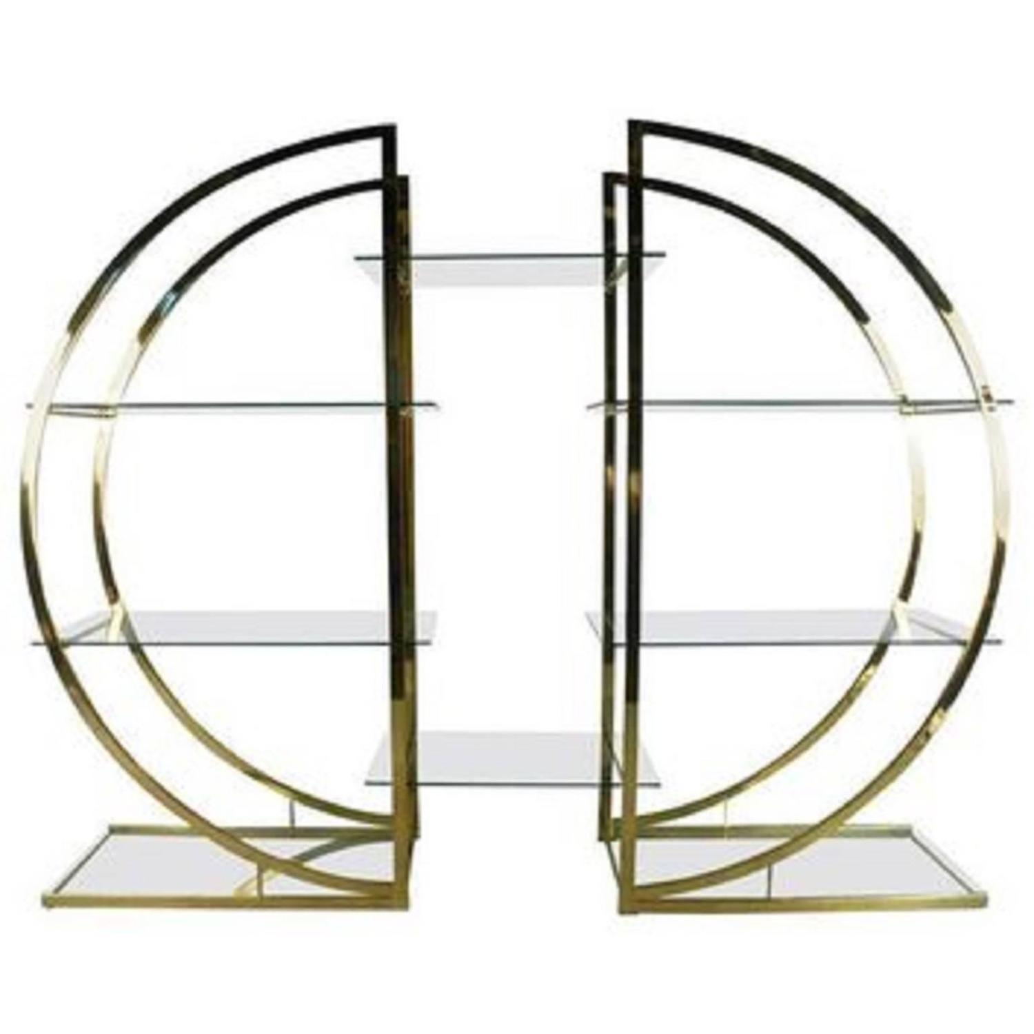 milo baughman art deco brass pair of etageres circular d. Black Bedroom Furniture Sets. Home Design Ideas