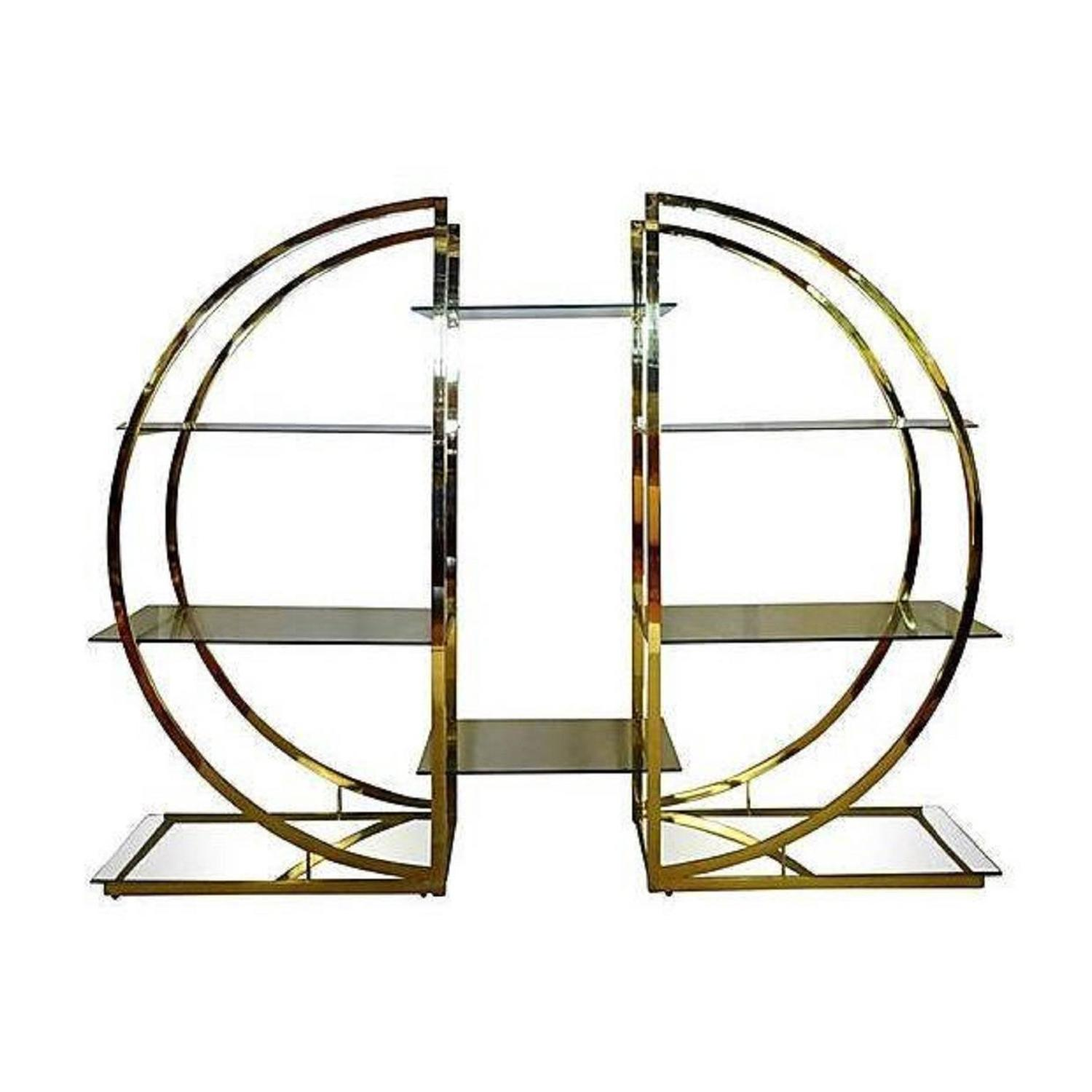 milo baughman art deco brass pair of etageres circular d hollywood regency shelf at 1stdibs. Black Bedroom Furniture Sets. Home Design Ideas