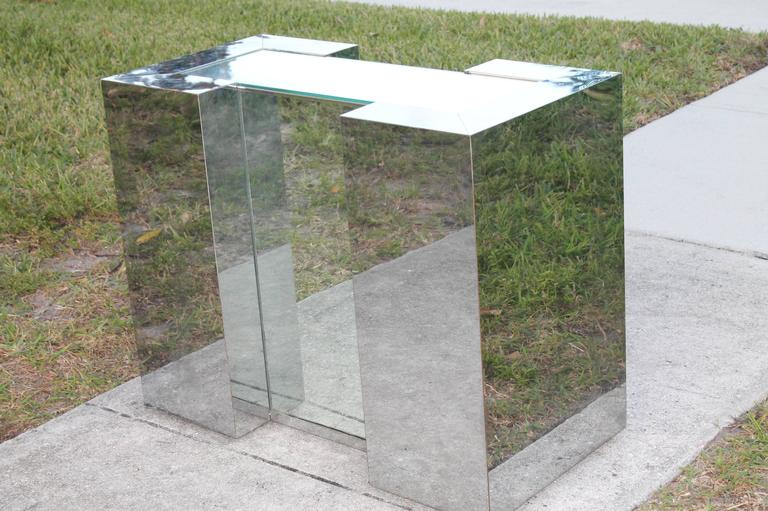 Mid Century Modern Mirrored Chrome Desk Console Or Dining Table Base In The Style Of