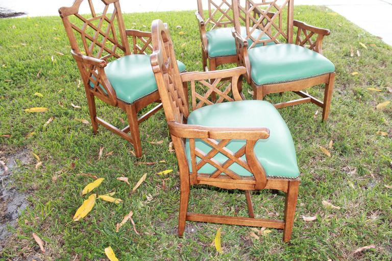 Hollywood Regency Set of Four Chinese Chippendale Vintage Wooden Fretwork Dining Arm Chairs  For Sale