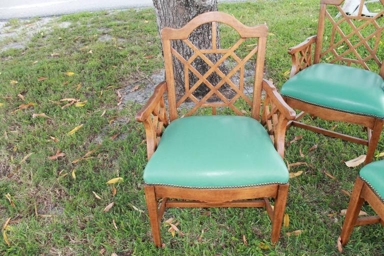 American Set of Four Chinese Chippendale Vintage Wooden Fretwork Dining Arm Chairs  For Sale