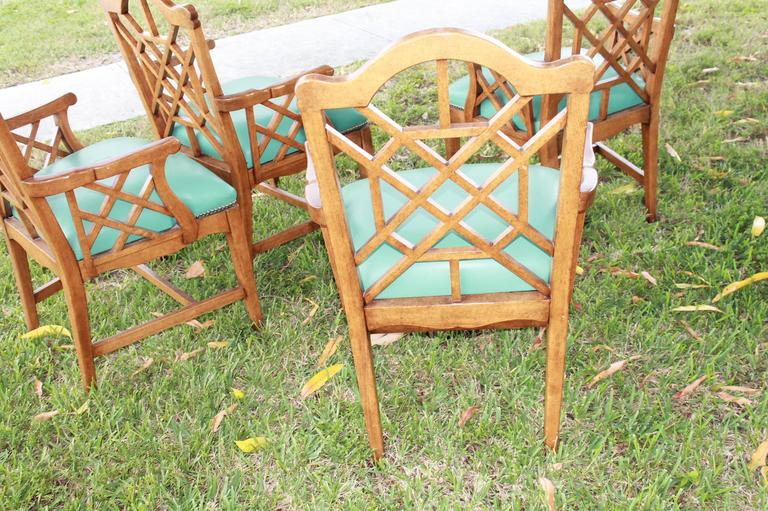 20th Century Set of Four Chinese Chippendale Vintage Wooden Fretwork Dining Arm Chairs  For Sale