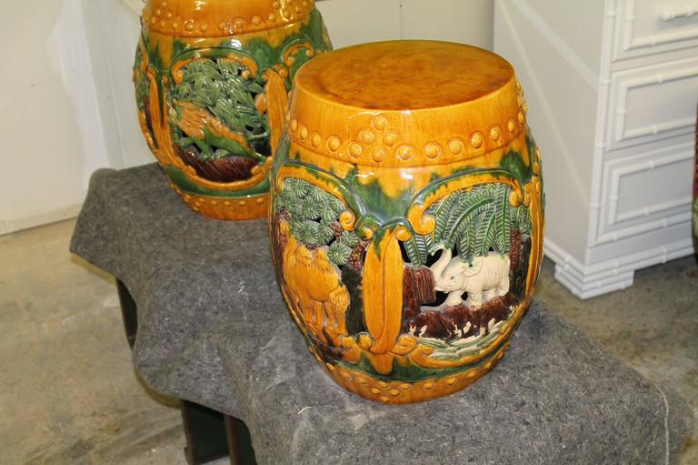 Vintage Pair Of Ceramic Garden Drum Stools Or Stands With