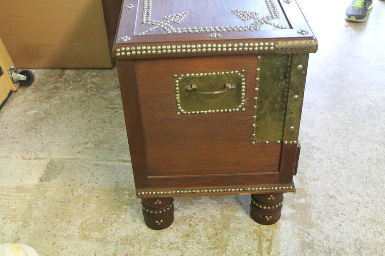 Arab wooden and brass studded coffee cocktail table trunk for Coffee table with studs