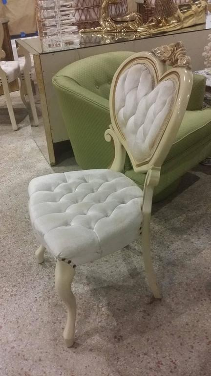 Six Tufted Hollywood Regency Heart Dining Chairs By Kimball 2