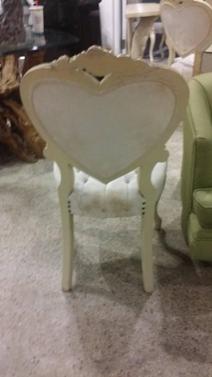 American Six Tufted Hollywood Regency Heart Dining Chairs By Kimball For  Sale