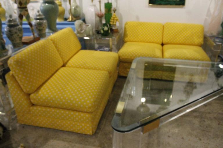 Thayer Coggin Pair of Slipper Sofas or Loveseats by Milo Baughman In Fair Condition For Sale In West Palm Beach, FL