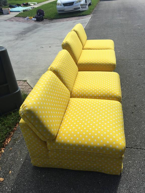 Great vintage pair of Hollywood Palm Beach Regency Thayer Coggin by Milo Baughman (tagged) slipper style loveseats, couches, sofa. Fabric is in found condition and has wear/spots. Recommended needing new upholstery. 31 tall back to pillows, 24 tall