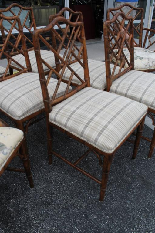 Hollywood Regency Set Of Eight Century Faux Bamboo Chinese Chippendale Fretwork Dining Armchairs For