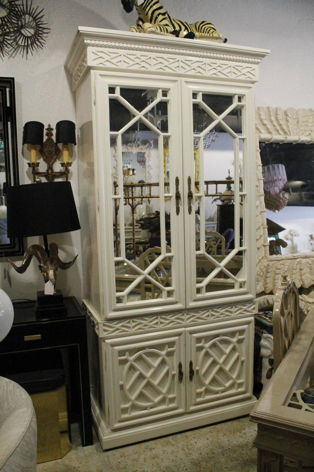 Vintage Fretwork Chinese Chippendale Cabinet Mirror