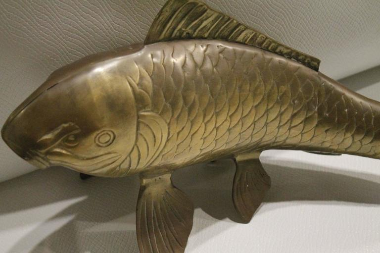 Brass koi fish monumental statue vintage hollywood regency for Koi for sale florida