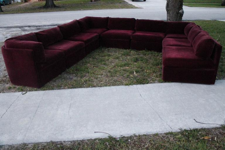 Milo Baughman for Thayer Coggin Tagged Nine Piece Sectional Sofa Couch Vintage 2