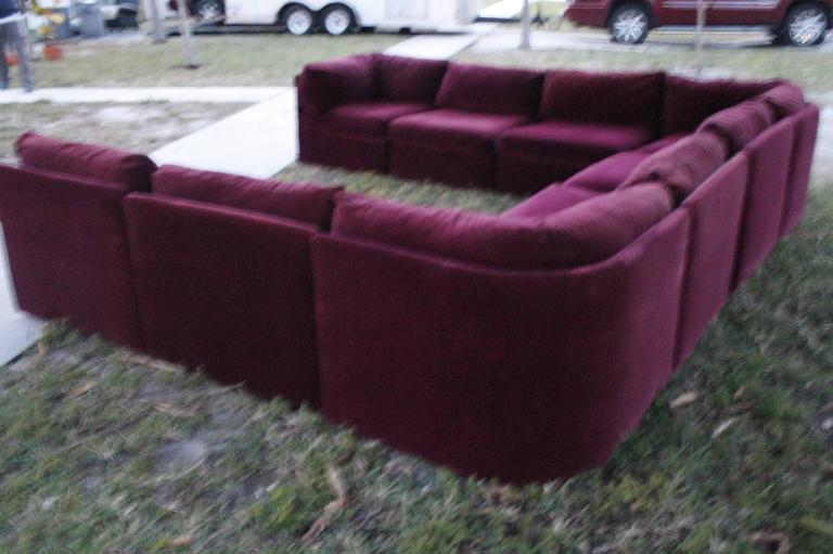 Milo Baughman for Thayer Coggin Tagged Nine Piece Sectional Sofa Couch Vintage In Good Condition For Sale In West Palm Beach, FL
