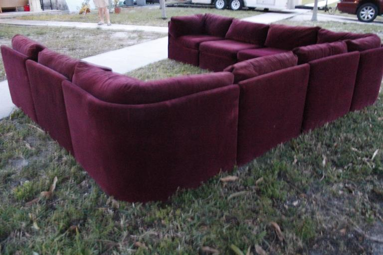 20th Century Milo Baughman for Thayer Coggin Tagged Nine Piece Sectional Sofa Couch Vintage For Sale
