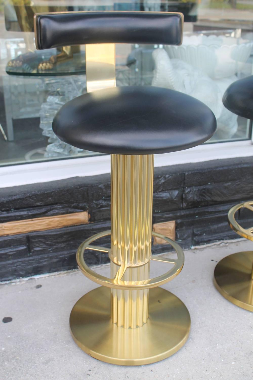Vintage Set Four Swivel Brass Excalibur Barstools Bar