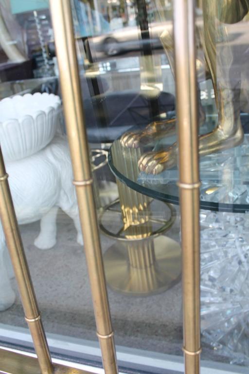 Mastercraft Greek Key Brass Vintage King Size Headboard Faux Bamboo Bed For Sale 1