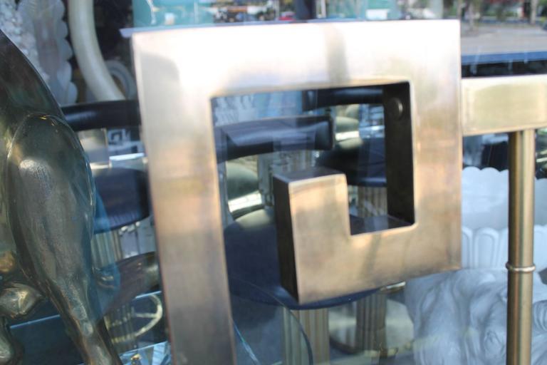 Hollywood Regency  Mastercraft Greek Key Brass Vintage King Size Headboard Faux Bamboo Bed For Sale