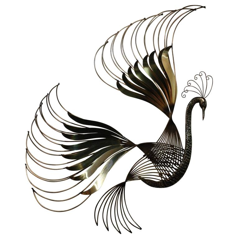 Curtis C. Jere Vintage Peacock Brass Bird of Paradise Wall Art Hanging Chrome