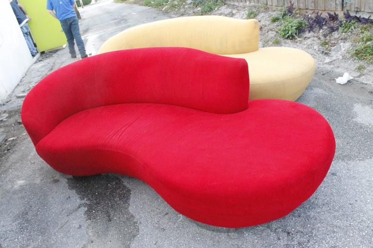 Vladimir Kagan Style Sofa Couch Vintage Curved Kidney