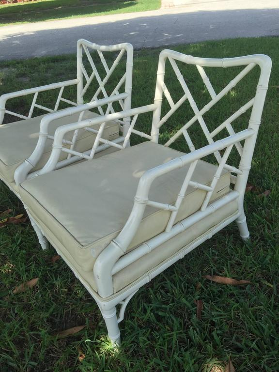 Vintage Pair Faux Bamboo Chinese Chippendale Arm Lounge Club Chairs