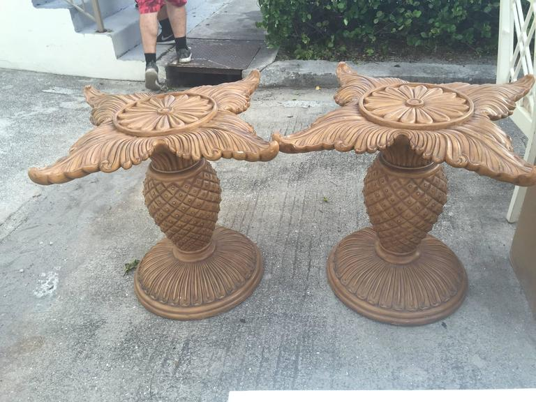 Pair Of Wood Carved Pineapple Dining Table Or Desk Bases Tropical Palm Beach