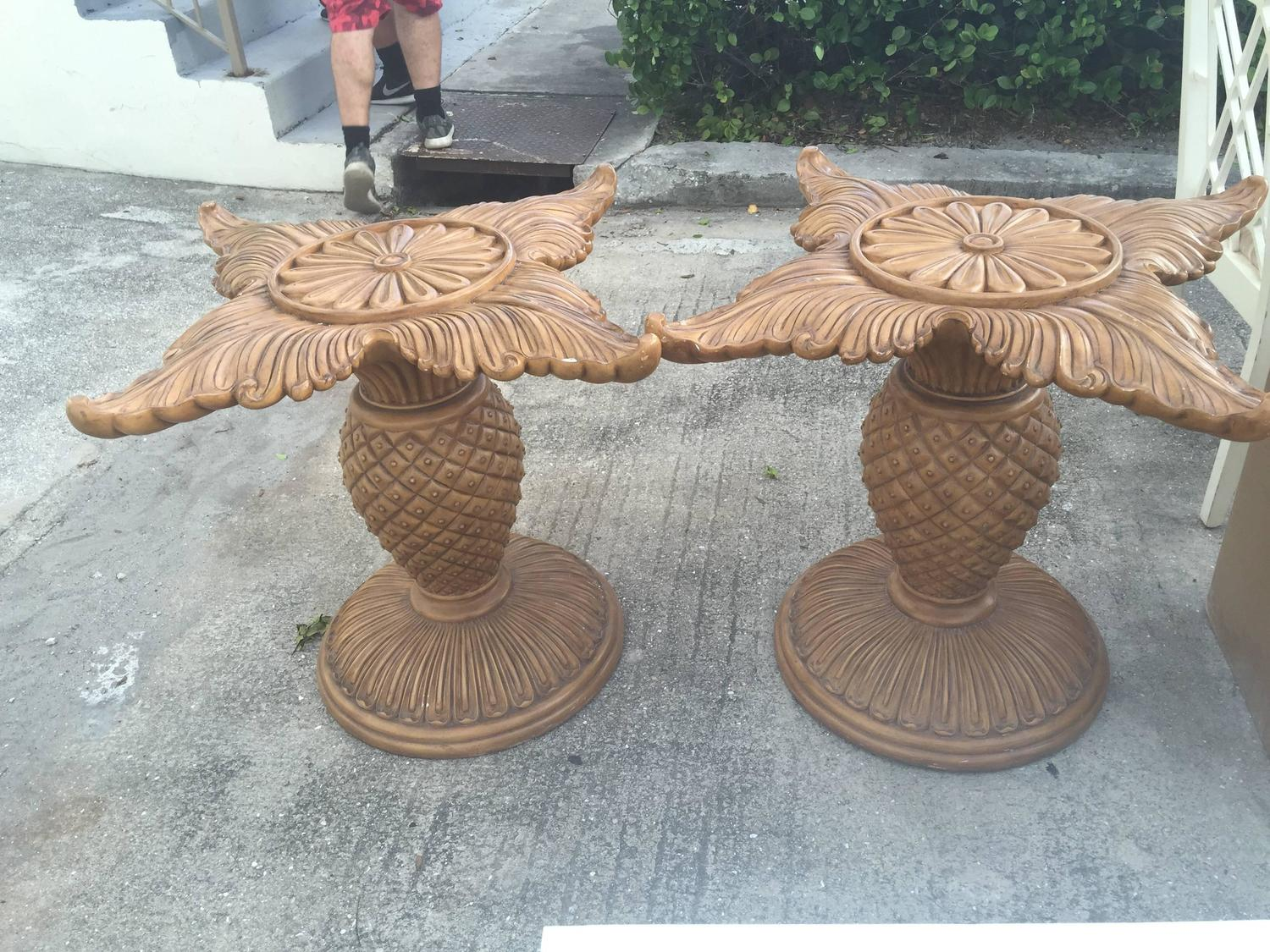 Pair of Wood Carved Pineapple Dining Table or Desk Bases  : imagez from www.1stdibs.com size 1500 x 1125 jpeg 290kB