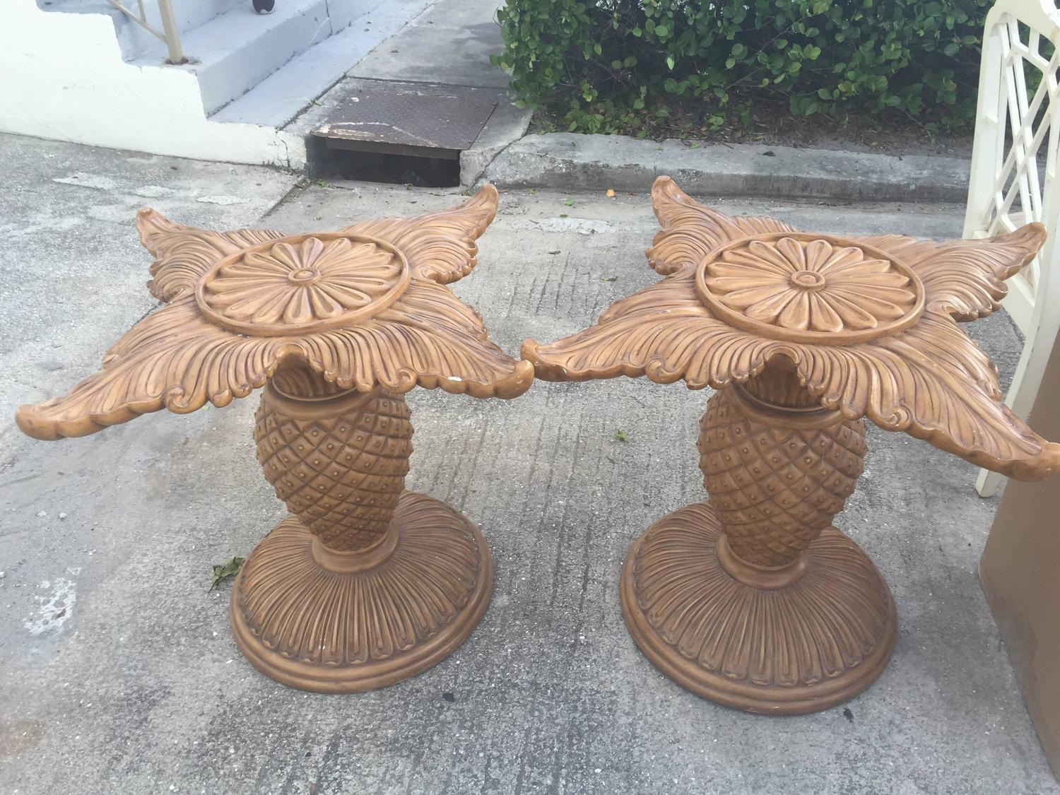 Pair of Wood Carved Pineapple Dining Table or Desk Bases  : imagez from www.1stdibs.com size 1500 x 1125 jpeg 280kB
