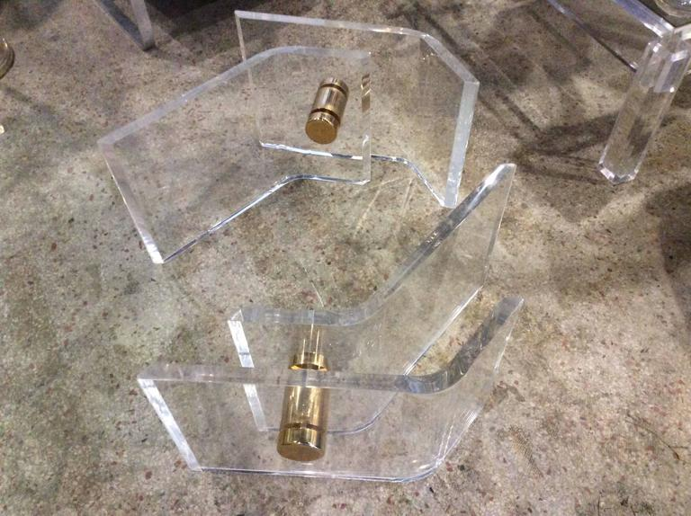 Pair of Vintage Lucite and Brass Architectural Coffee or Cocktail Table Bases  In Excellent Condition For Sale In West Palm Beach, FL