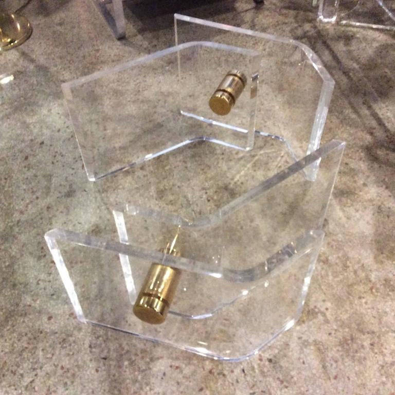 20th Century Pair of Vintage Lucite and Brass Architectural Coffee or Cocktail Table Bases  For Sale