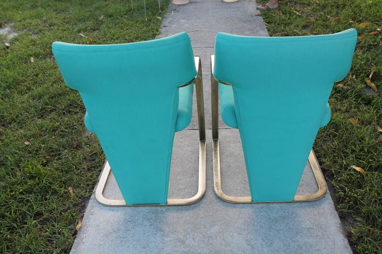 American  Brass Carsons Vintage Pair of Arm Cantilever Chairs Art Deco Hollywood Regency For Sale