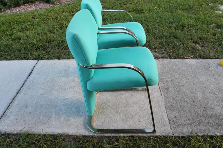 Brass Carsons Vintage Pair of Arm Cantilever Chairs Art Deco Hollywood Regency In Good Condition For Sale In West Palm Beach, FL