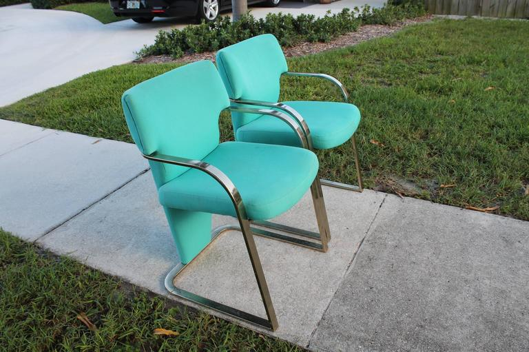 20th Century  Brass Carsons Vintage Pair of Arm Cantilever Chairs Art Deco Hollywood Regency For Sale